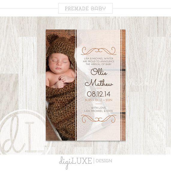 INSTANT DOWNLOAD Geburt Ankündigung Ollie Baby von DigiLUXEDesign