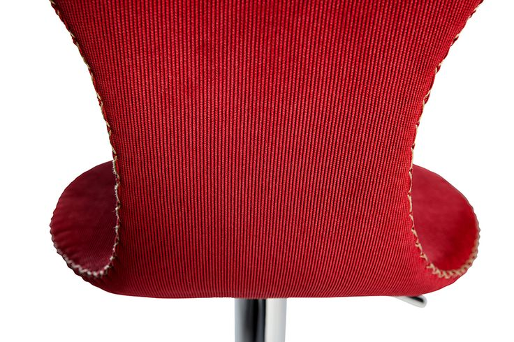 DOLPHIN barstool in red corduroy with contrast stitches