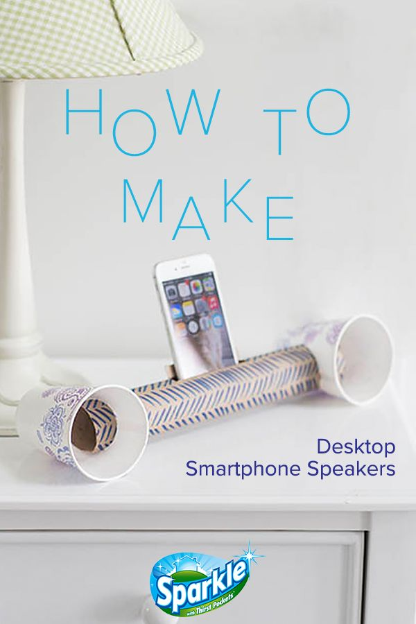 Amplify smartphone sound with desktop speakers made from simple household items. All you need is an empty paper towel tube and two paper cups, and you'll be jamming out to your favorite tunes in no time. This DIY craft is easy to make, costs next to nothing, and, best of all, truly works!