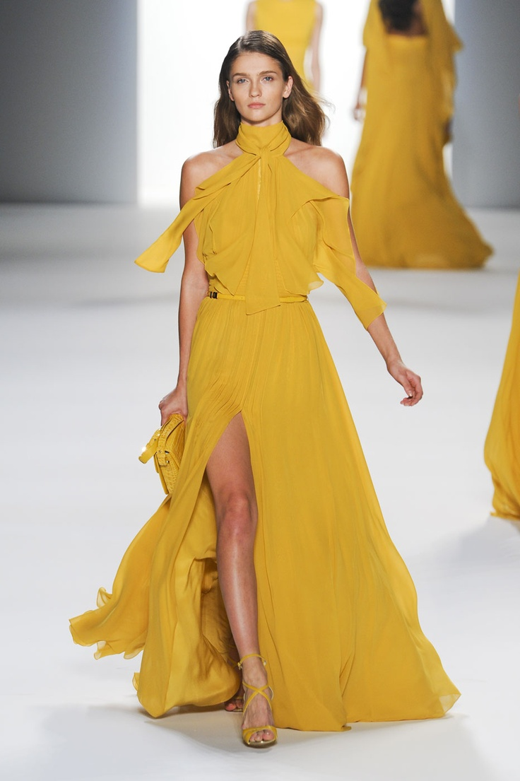 Yellow gown from Elie Saab S/S 2012: Yellow Gown, Eliesaab, Elie Saab Spring, Formal Dresses, Yellow Dresses, Color, Spring 2012, 2012 Rtw, Formal Fashion Yellow