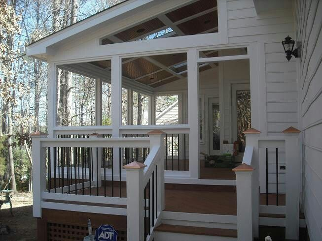 373 best images about decor porch and shed on pinterest for Shed roof screened porch plans