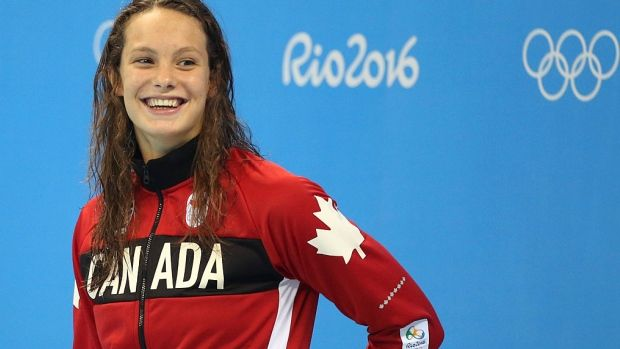 Canadian swimmer Penny Oleksiak shows off her dance moves