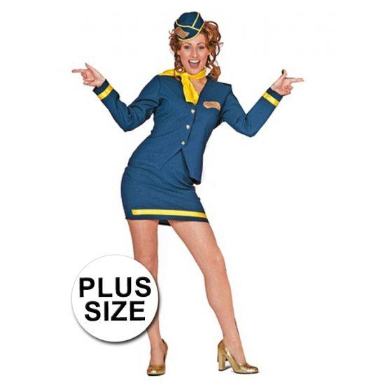 Grote matens stewardess kostuum voor dames bestaande uit een korte blauwe rok met onderaan een gouden bies en een blauw jasje met gouden embleem en een gouden bies op de manchetten. De hoed en de sjaal zijn tevens inclusief.