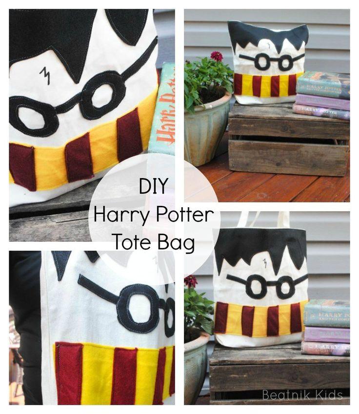DIY Harry Potter Tote Bag tutorial tote bag sewing Harry Potter Happy Harry Potter Series diy crafts