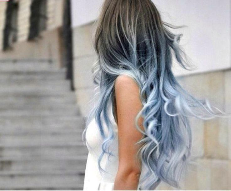 Icy Blue Silver Ombre Hair