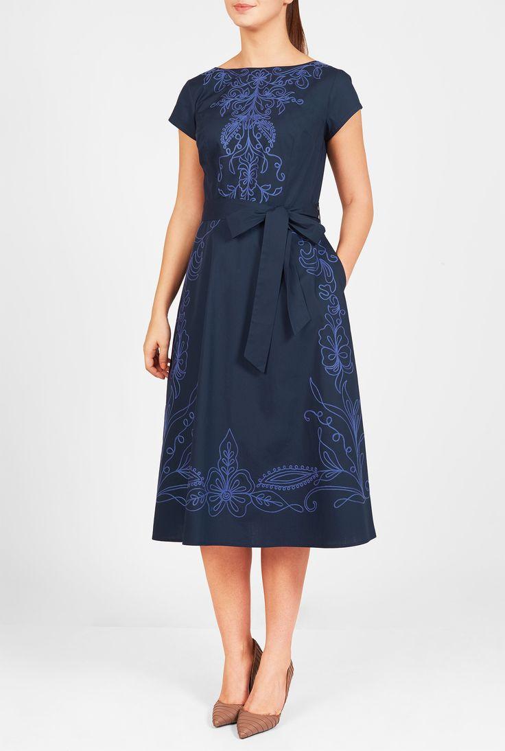 eShakti Filigree Embellished Poplin Dress