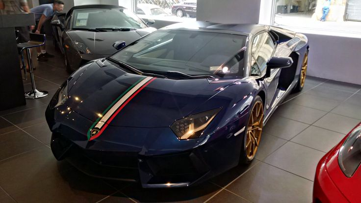 Dark Blue Lamborghini Aventador with Italy colors decal 🇮🇹