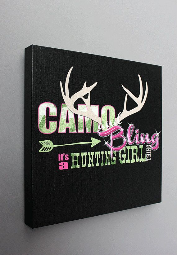 Camo & Pink Gallery Wrapped HUNTING GIRL wall by RaisingSeedlings, $40.00 Madison