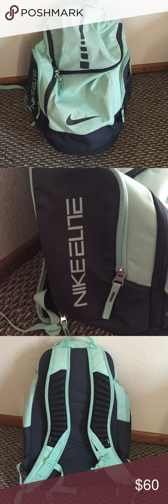 Nike Elite backpack Mint colored Nike Elite backpack. Used for college, just got a different one this year. Very big to hold a lot! Has air pads on straps for comfort. Side compartment is insulated. Nike Bags Backpacks