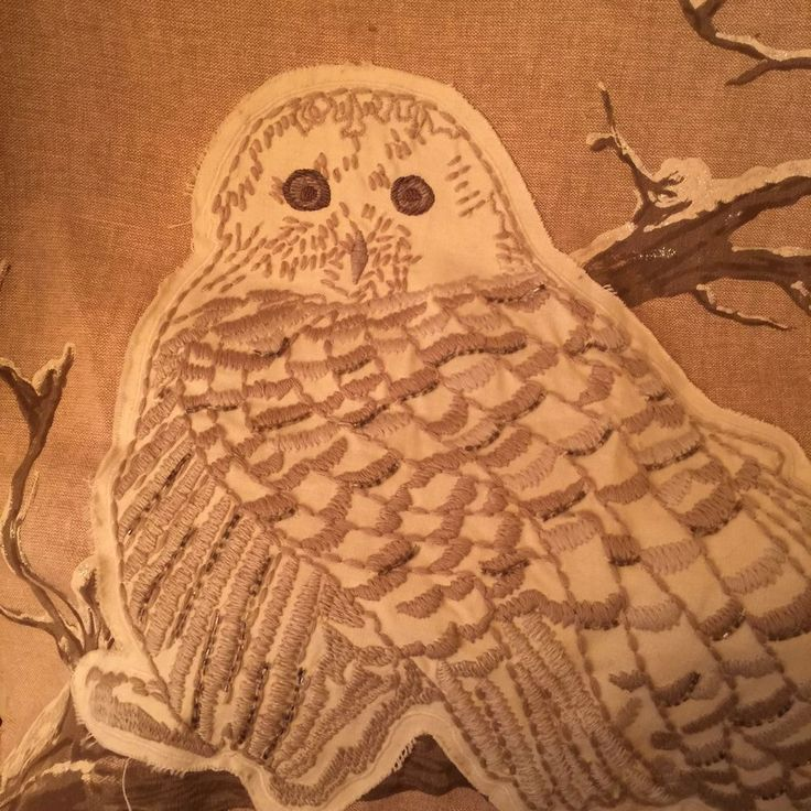 "Pottery Barn Snow Owl on Branch Applique Beige Pillow Cover 24"" x 24""  | Home & Garden, Holiday & Seasonal Décor, Christmas & Winter | eBay!"