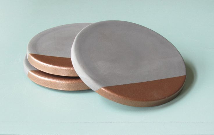 concrete + copper coasters - set of four by badseedshop on Etsy https://www.etsy.com/listing/256128719/concrete-copper-coasters-set-of-four