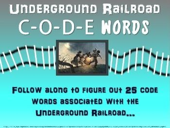 This download includes both the 30-slide PowerPoint AND the graphic organizer handout in PDF and MS WORD format.  Answer key is included as well.The PowerPoint introduces 25 code words associated with Harriet Tubman and the Underground Railroad.  Each slide offers the code word, a visual, and then the answer is revealed at the click of the mouse to allow for students to take guesses or discuss as directed.