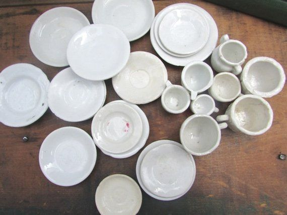 Ironstone Toy Doll Dishes Plates Cups