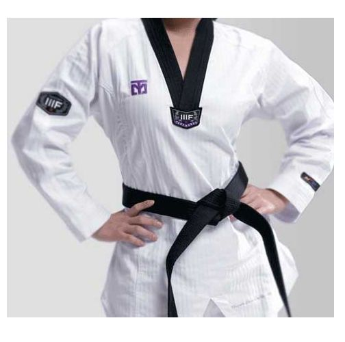 Mooto Korea WTF TaeKwonDo 3FW WOMAN uniforms TKD Dobok Black neck Tae Kwon Do #KZZANG