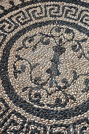 Section of an ancient Greek floor made with pebbles by David Elliott