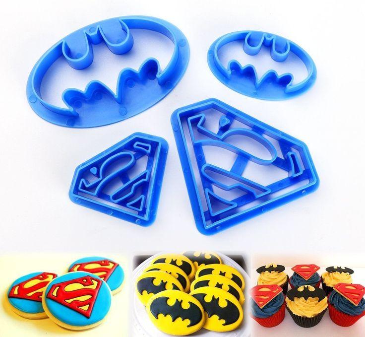 4tlg. Batman Keks Fondant Ausstecher Super Hero Ausstechform Sugarcraft Cookies | eBay