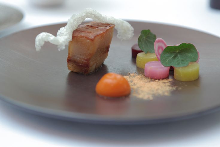 Roast suckling Pork Jowl, Beetroot, carrot & orange beurre blanc recipe by professional chef Daniel Clifford