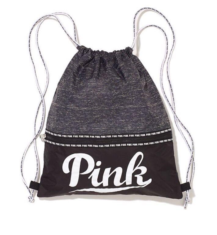 Victorias Secret PINK Drawstring Tote Bag Backpack 2015 Grey Marl - NEW!!! #VictoriasSecret