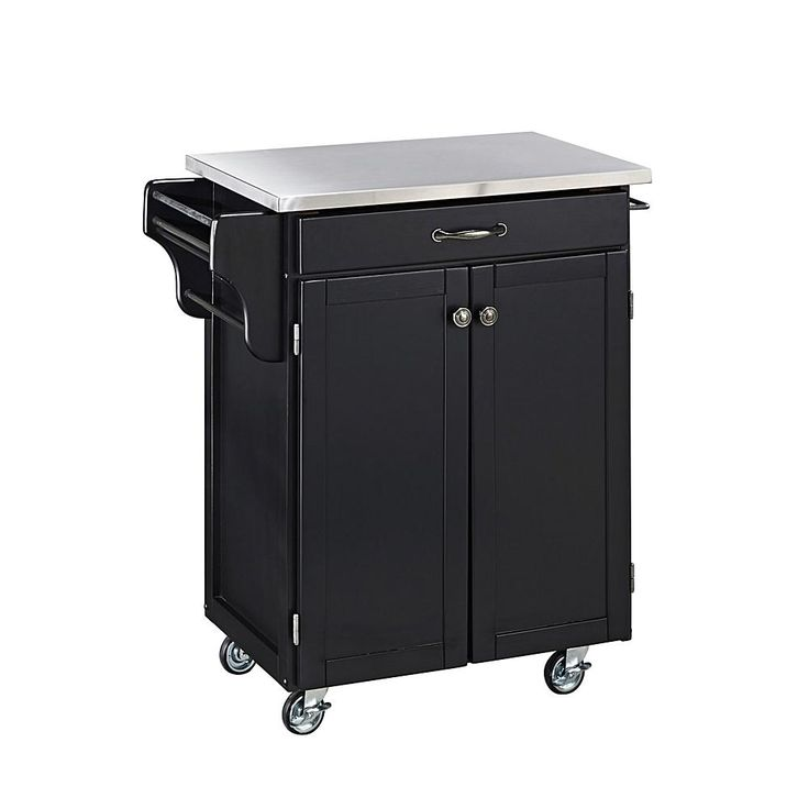 Home Marketplace Small Kitchen Cart - Black with Stainless Steel Top