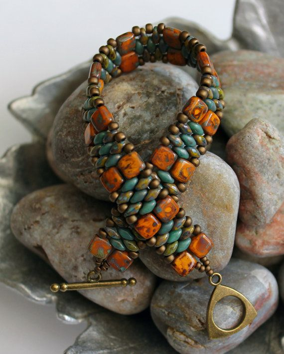 Czechmate Tile and Superduo Cuff Bracelet by ReggiesCreations