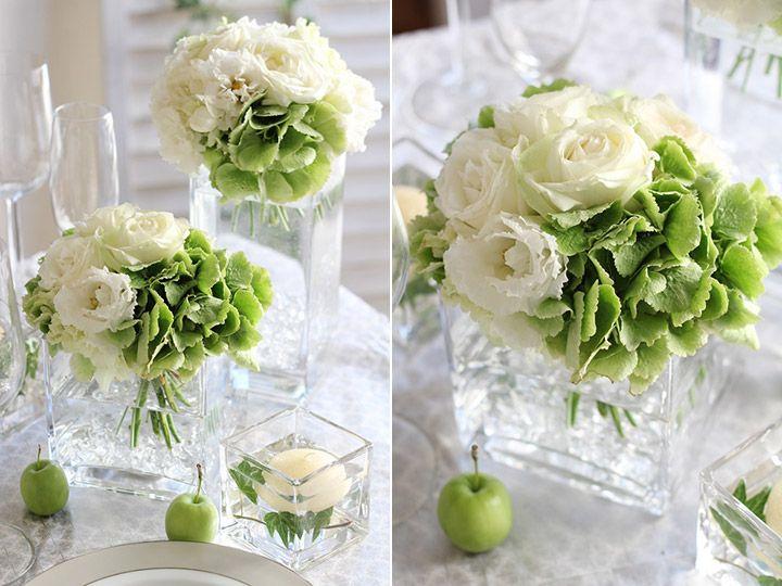 ゲストテーブル装花 ガラス スクエア 花器 あじさい