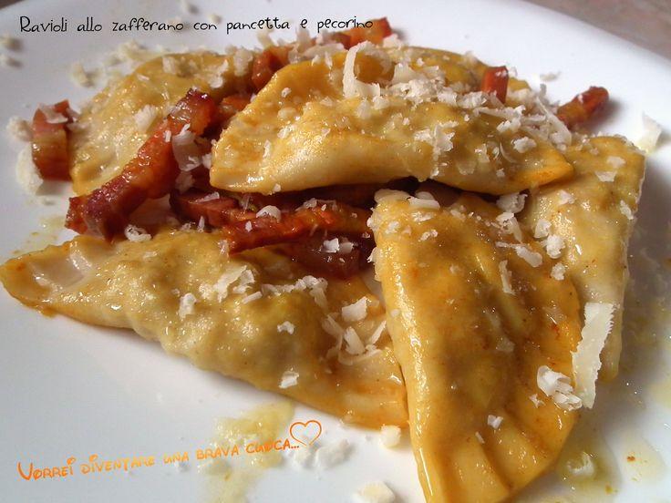 Saffron ravioli with bacon and cheese   Ravioli allo zafferano con pancetta e pecorino   Vorrei diventare una brava cuoca....