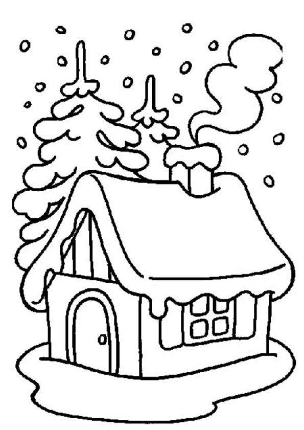 La maison est bien chaude à Noël avec un bon feu dans la cheminée, un peu de couleur embellira ce dessin.
