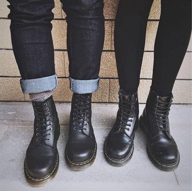 The Vegan 1460 boot and the Black1460 boot in Smooth Leather. Shared by coool_hunter.