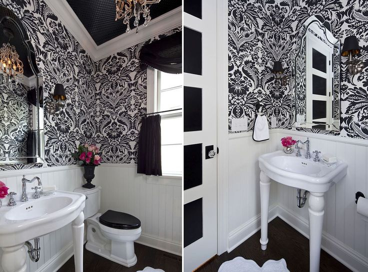 Traditional powder room in black and white with a lovely chandelier Always on Trend: 20 Powder Rooms in Black and White