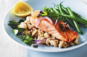 Salmon with white bean mash main image