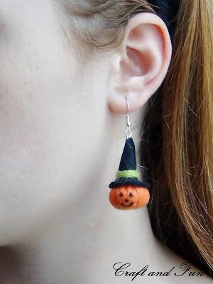 Cucito creativo Halloween: zucche per orecchini - feltro