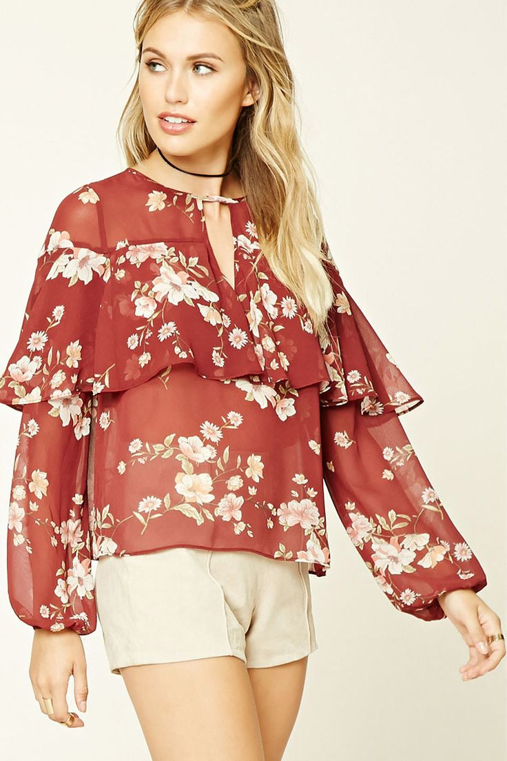 Forever 21 Contemporary - A woven top featuring a floral print, keyhole front, ruffle trim, long sleeves, and a boxy silhouette.