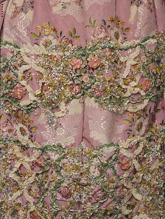 Robe à la Française Date: 1750–75 Culture: French Medium: silk; embellishment detail