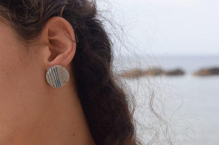 σκουλαρίκια με κεραμική χάντρα