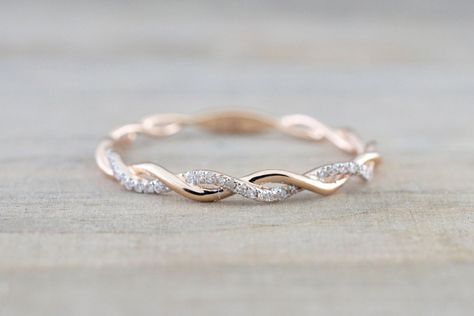 14k Rose Gold Round Cut Diamond Rope Twined Vine Engagement Pave Stackable Stacking Promise Ring Anniversary #stackableengagementrings