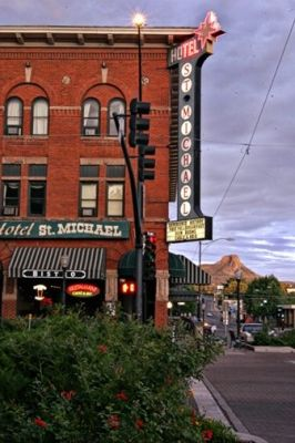 Downtown Prescott Arizona - I love this historic hotel right on Whiskey Row. Definitely a must stay when passing through this space. G.