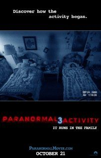 Paranormal Activity 3, directed by Henry Joost and Ariel Schulman.  Pretty much what you'd expect, but I still think these are fun movies.  My bar can be set fairly low for horror movies - I'm willing to cut them a lot more slack if they can creep me out a little.  A couple of good moments here and there, but nothing overly innovative.
