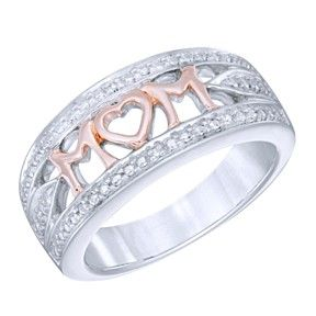 "Diamond Accent ""Mom"" Ring Sterling Silver & 10K Rose Gold Over by JewelryHub on Opensky"