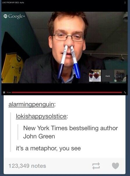 It's a metaphor, see? You put the thing that does the writing right up your nose, but you don't give it the power to write... A metaphor. // HAHAHAHAHAHAH!