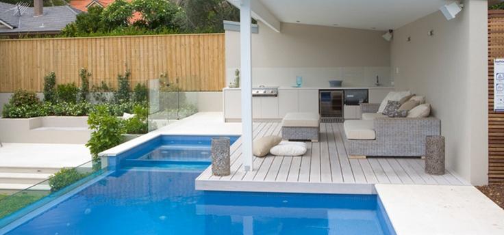 raised pool and pavilion