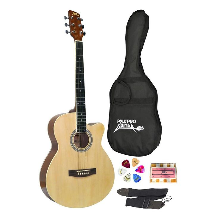 Pyle 39 Inch Beginner Jammer, Acoustic Guitar with Carrying Case and Accessories