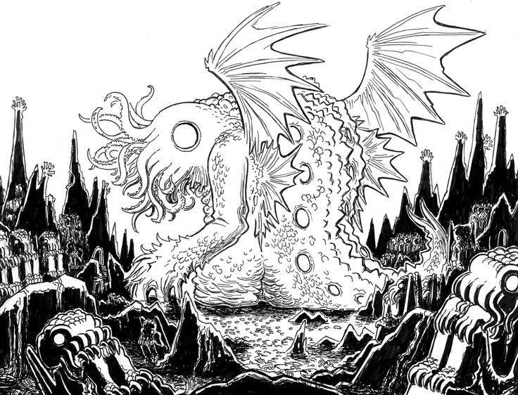Lovecraft sketch mwf cthulhu 3 by jason thompson for Cthulhu coloring pages