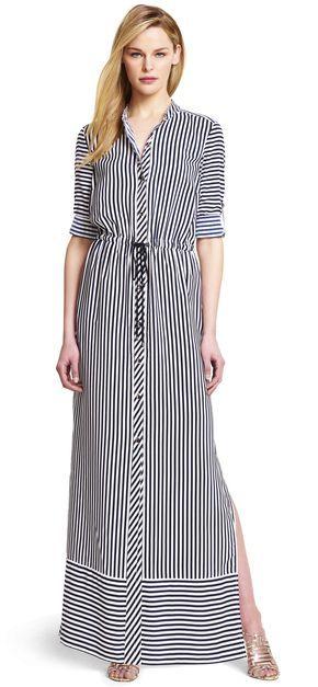 Striped Maxi Shirtdress - Adrianna Papell