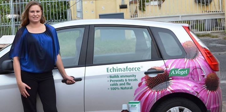 Heather is ready to jump into her Echinaforce branded car and take it for a spin showcasing the brand to everyone.