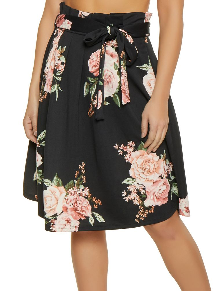 Floral Paper Bag Waist Skater Skirt 2