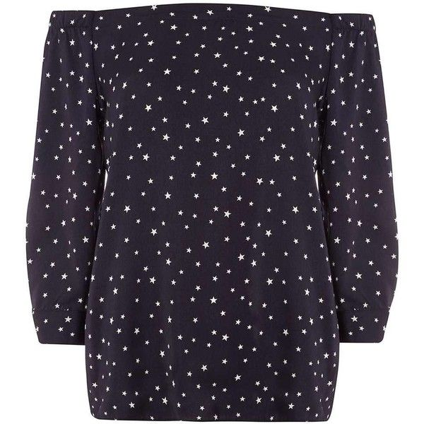 Dorothy Perkins **Tall Navy Star Bardot Top (60 AUD) ❤ liked on Polyvore featuring tops, blue, purple top, star print top, dorothy perkins, navy blue top and navy top