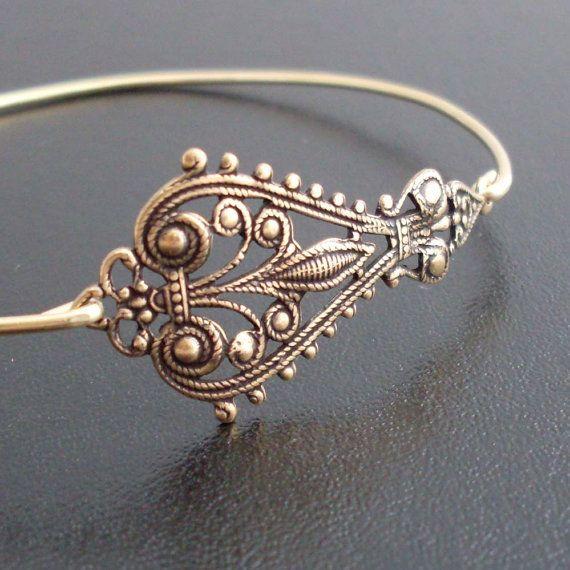Bangle Bracelet Maylania  Antique Gold by FrostedWillow on Etsy, $9.95