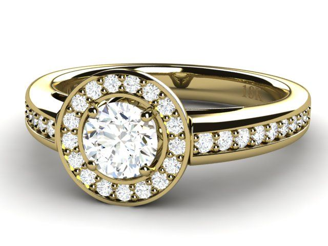Halo Diamond Ring with Accents 18K Yellow Gold - Paul Jewelry