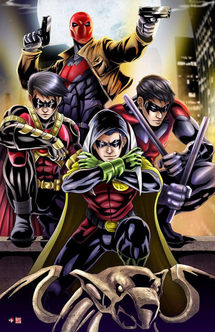 Robin aka Damian Wayne | Red Robin aka Timothy Drake | Red Hood aka Jason Todd | Nightwing aka Richard Dick Grayson | Batboys | Batfamily | Robins
