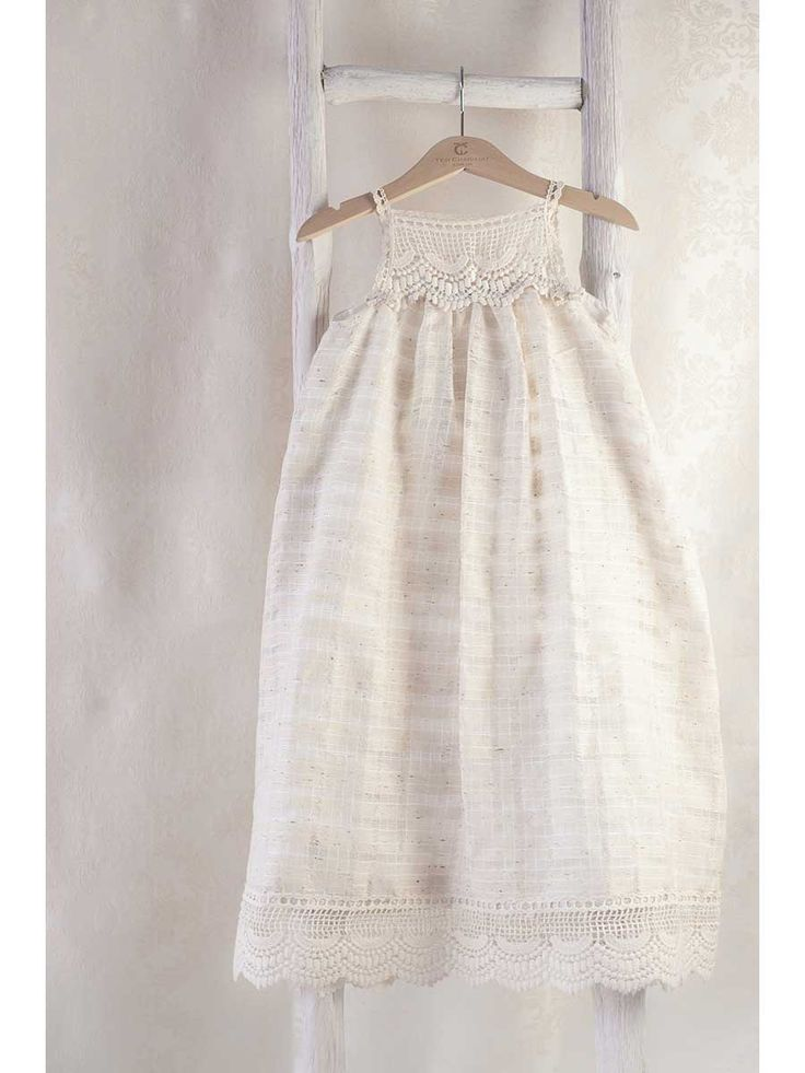 Linen maxi christening dress @teticharitou